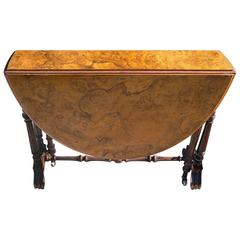 English 19th Century Burl Walnut Top, Drop-Leaf Table with Carved Legs on Wheels