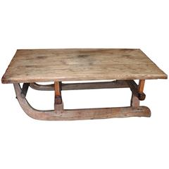 Swiss Pine 19th Century Sleigh Coffee Table