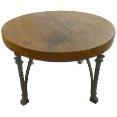 French 1920s Block Wood And Cast Iron Round Coffee Table