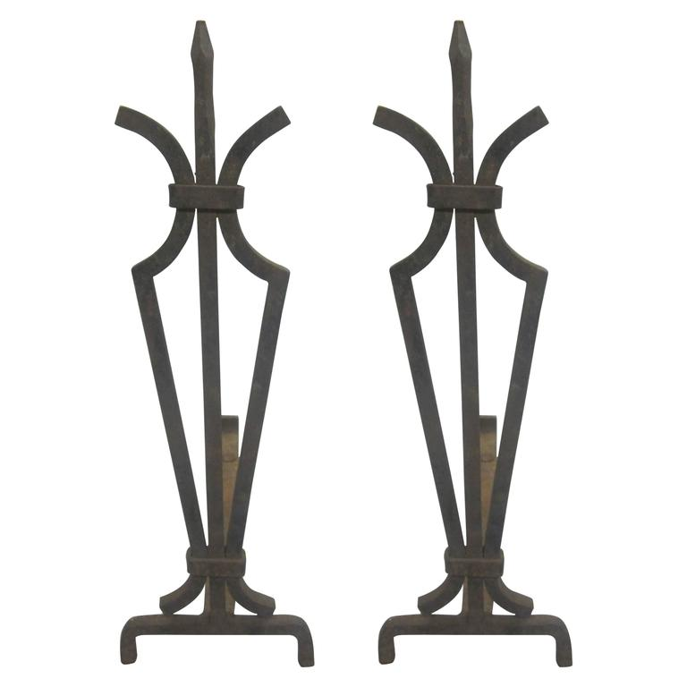 Pair of French 1940s Hand-Wrought Iron Andirons
