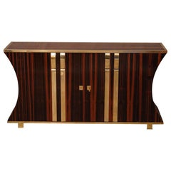 Midcentury Macassar and Brass Italian Sideboard, 1940