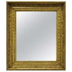 19th Century Gold Gilt and Gesso Wood Frame Wall Mirror with Foliate Design 'a'