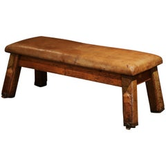 Early 20th Century Czech Four-Leg Brown Leather Training Bench