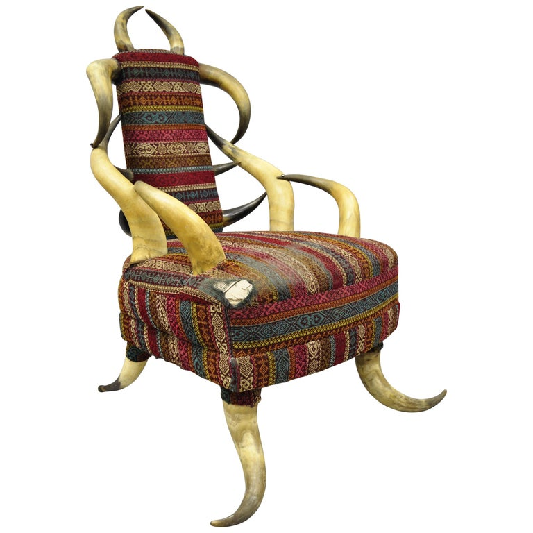 Early 20th Century Steer Horn Parlor Chair For Sale