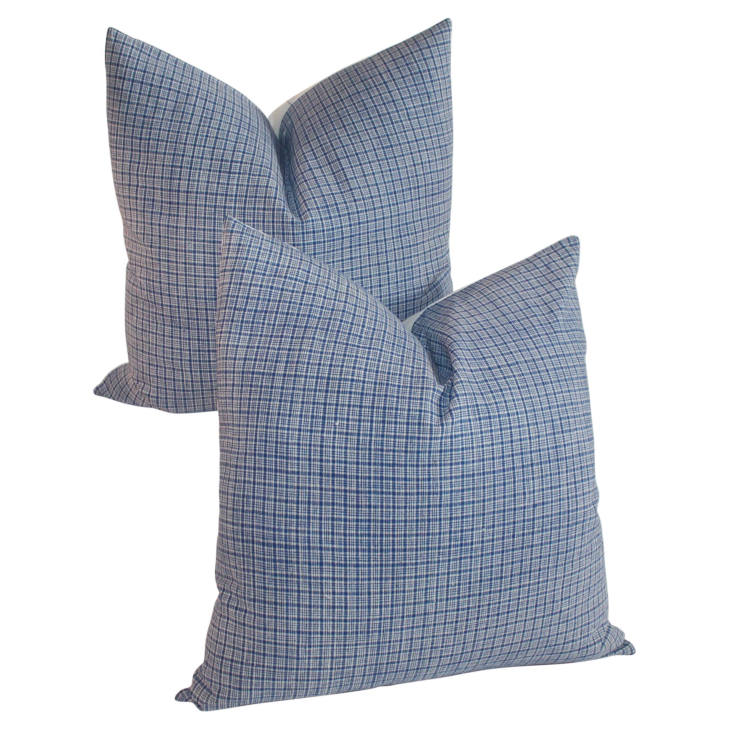 19th Century Homespun Linen  Pillows, Pair