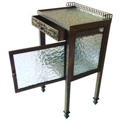 Art Deco Side Table or Nightstand with Glass Panels, 1930s