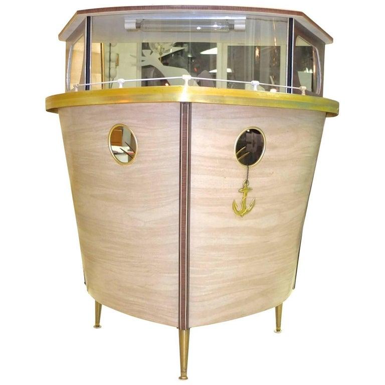 Umberto Mascagni Boat Form Cocktail Bar For Sale