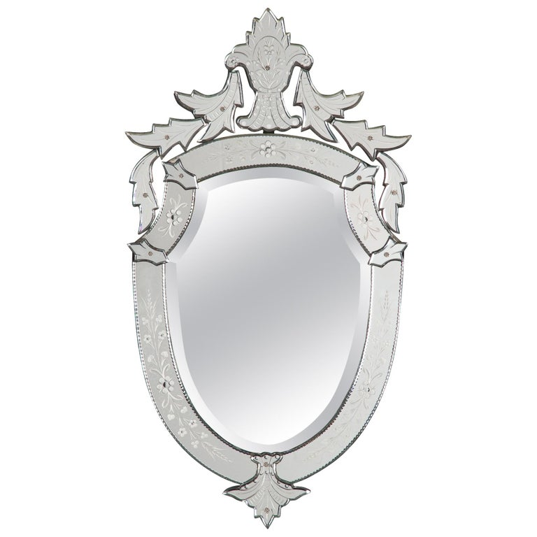Midcentury French Venetian Glass Mirror For Sale
