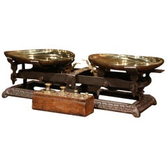 19th Century French Polished Iron Scale with Set of Weights in Walnut Casing
