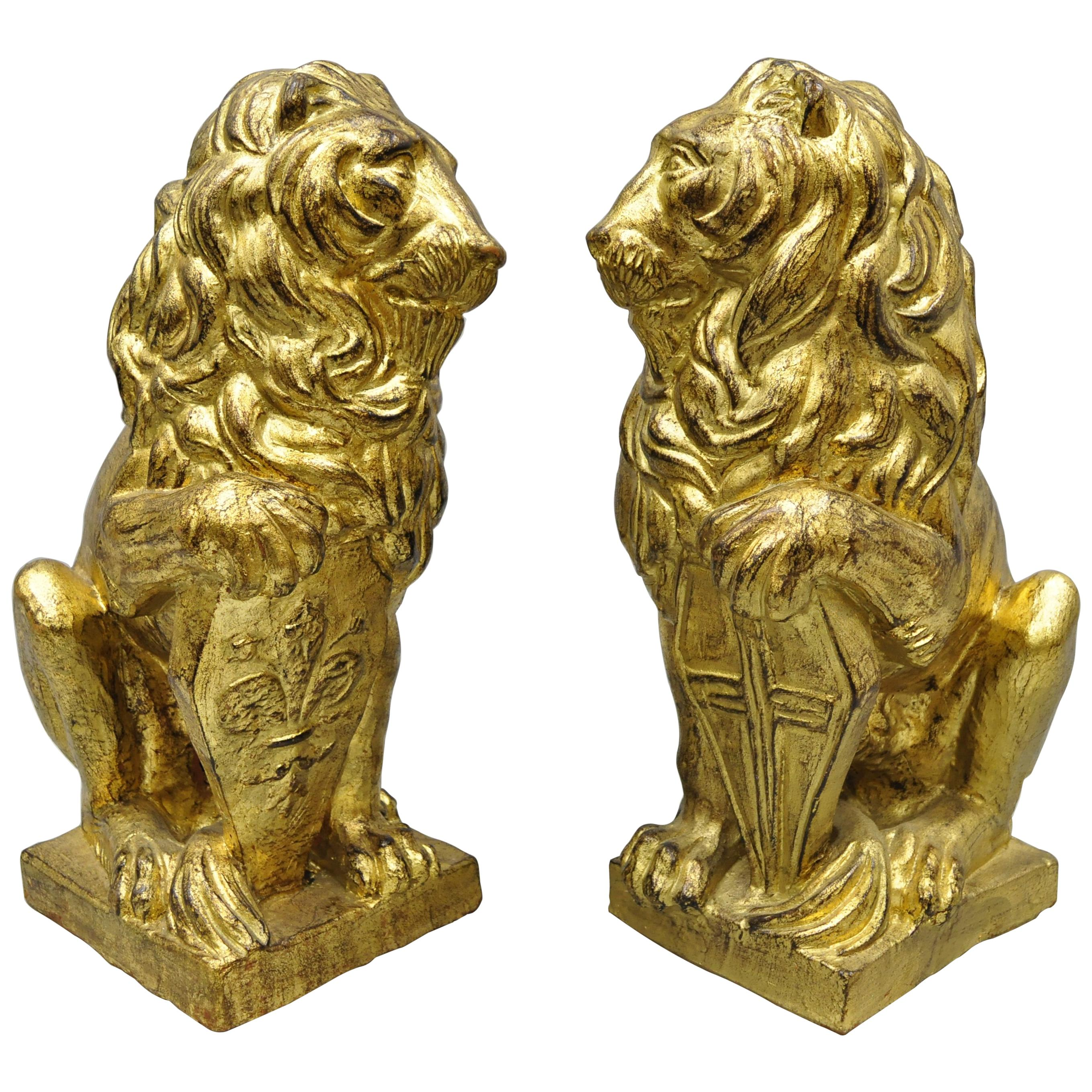 Pair of Italian Terracotta Gold Leaf Lion Statues Sculpture