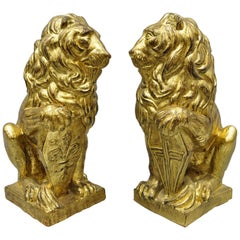 Pair of Italian Terracotta Gold Leaf Lion Statues Sculpture