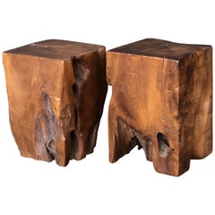 English Polished Wood Stool or Rustic Table