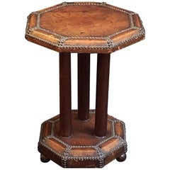 French Art Deco Octagonal Bistro or Club Occasional Table of Leather
