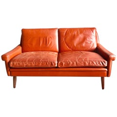 Svend Skipper Midcentury Danish Sofa in Red Leather