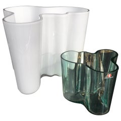 Pair of Early Alvar Aalto White and Green Glass Vases