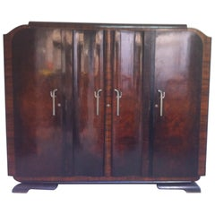 1940s  Art Deco Walnut Wardrobe