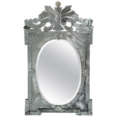 Monumental Antique Venetian Mirror with Scrolled and Hand-Etched Designs