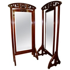 19th Century Art Nouveau Walnut Cheval Mirror in the Manner of Louis Majorelle