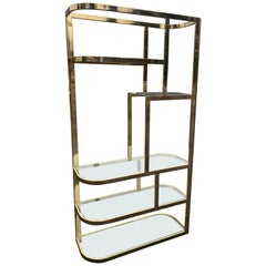 Hollywood Regency Brass and Glass Etagere