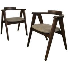 Pair of Mid-Century Modern Mahogany Compass Chairs