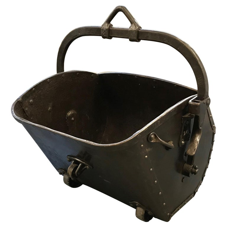 Large 19th Century Industrial Steel Coal Drag Shovel Bucket For Sale