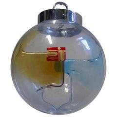 1960s, Vintage Membrane Murano Glass Globe Lamp by Toni Zuccheri, Venini