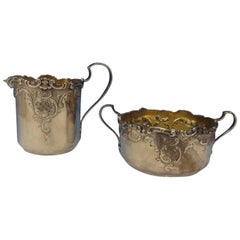 Dominick and Haff Sugar Bowl and Creamer 2-Piece with Repoussed Scrollwork
