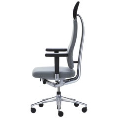 Vitra Headline Office Chair in Grey with Armrest by Mario & Claudio Bellini