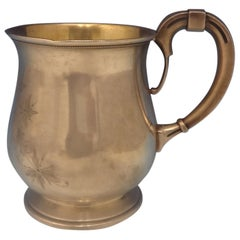 Wood & Hughes Sterling Silver Child's Cup Bright-Cut Gold Washed Interior