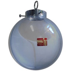 1960s Vintage Large  Membrane Murano Glass Globe Lamp by Toni Zuccheri, Venini