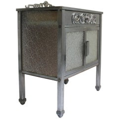 1930s Art Deco Nickel and Glass Side Table or Small Cupboard