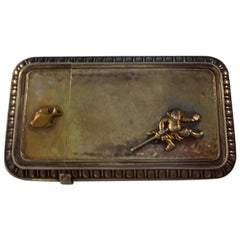 Whiting Sterling Silver Mixed Metals Business Card Case Japanesque Fish Figural