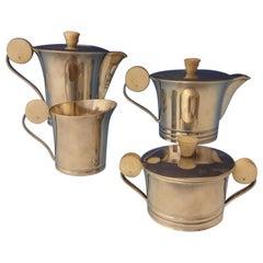 French .950 Sterling Silver Art Deco Tea Set Coffee Sugar Creamer