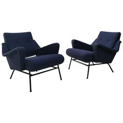 Midcentury Pair of French 1950s Lounge Chairs by Gérard Guermonprez for Magnani