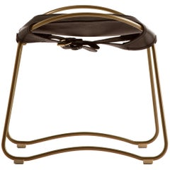 HUG Footstool Aged Brass Steel and Vegetable Tanned Dark Brown Saddle Leather