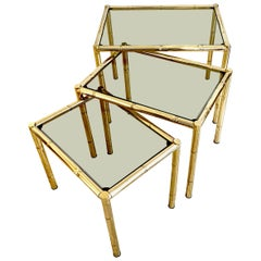 Set of French Faux Bamboo Brass Nesting Tables, 1960s