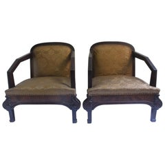 Set of 2 Art Deco Club Armchair with Brocade Silk Upholstery, 1930s