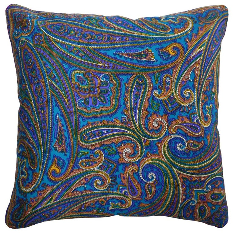 'Vintage Cushions' Luxury Bespoke-Made Silk Pillow 'Amaranth', Made in London For Sale