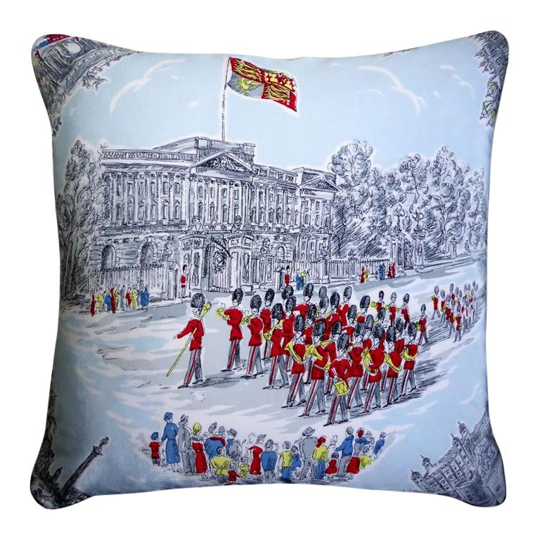 "Vintage Cushions ""Buckingham Palace"" Bespoke Luxury Silk Pillow, Made in London For Sale"