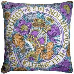 "Vintage Luxury Cushions ""Coronation London 1953"" Bespoke Silk Pillow"