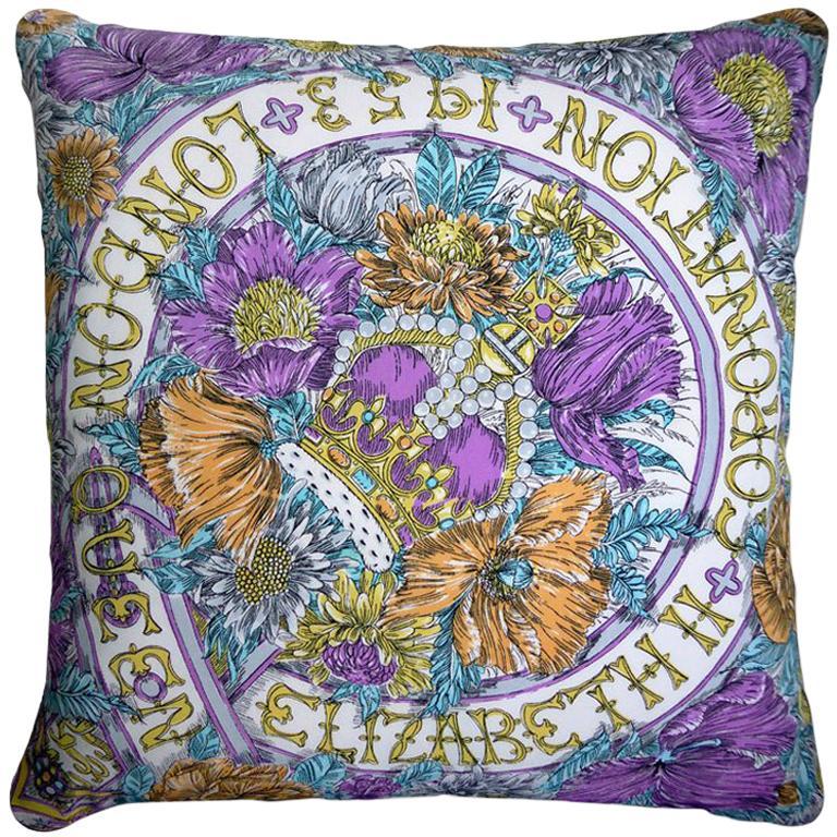 "Vintage Luxury Cushions ""Coronation London 1953"" Bespoke Silk Pillow For Sale"
