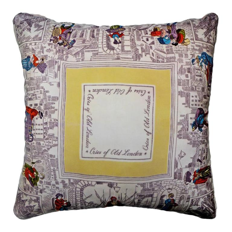 Vintage Silk Pillow 'Cries of London' with Iconic Images of the City of London For Sale