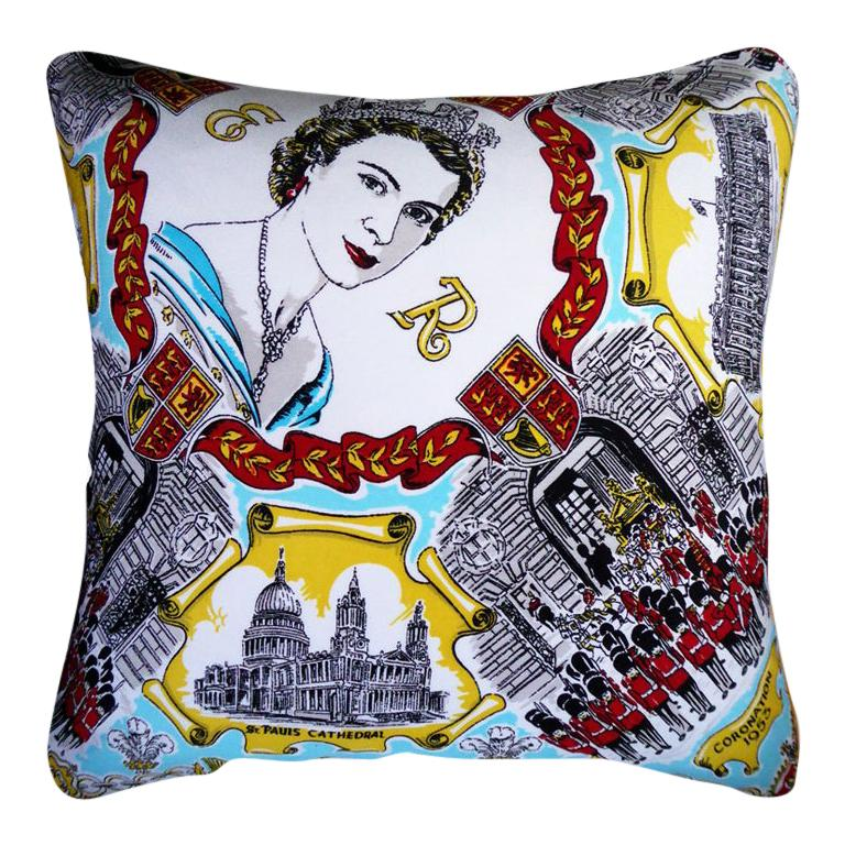 """Vintage Cushions """"E.R Coronation"""" Bespoke Luxury Silk Pillow, Made in London For Sale"""