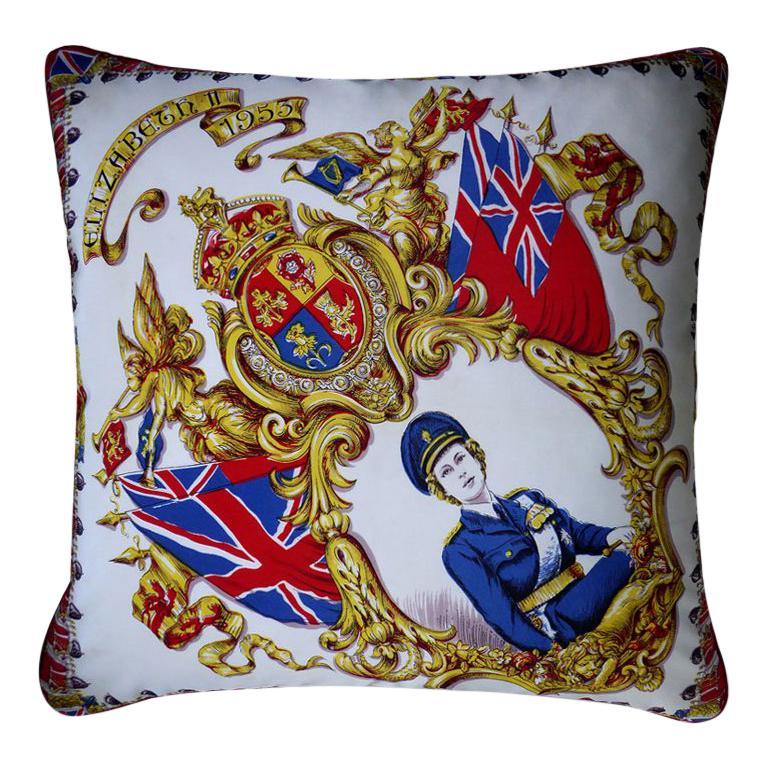 "Vintage Cushions ""Elizabeth II 1953"" Bespoke Luxury Silk Pillow, Made in England For Sale"