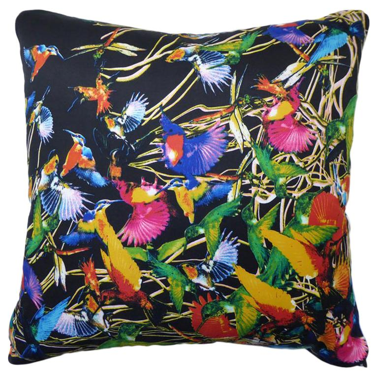 "Vintage Luxury Silk Cushion ""Hummingbirds"" Bespoke Pillow - British Made For Sale"