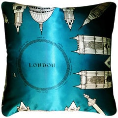"1970s, Luxury Vintage Silk Cushion ""London"" (Turquoise) Bespoke Pillow Cushion"