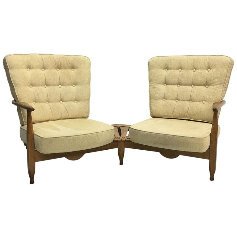 Midcentury French 1950s Sofa Armchairs by Guillerme et Chambron for Votre Maison For Sale