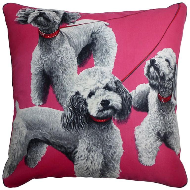 Vintage 1970s Cushions 'Pink Poodles' Bespoke Made Silk Pillow Made in London For Sale
