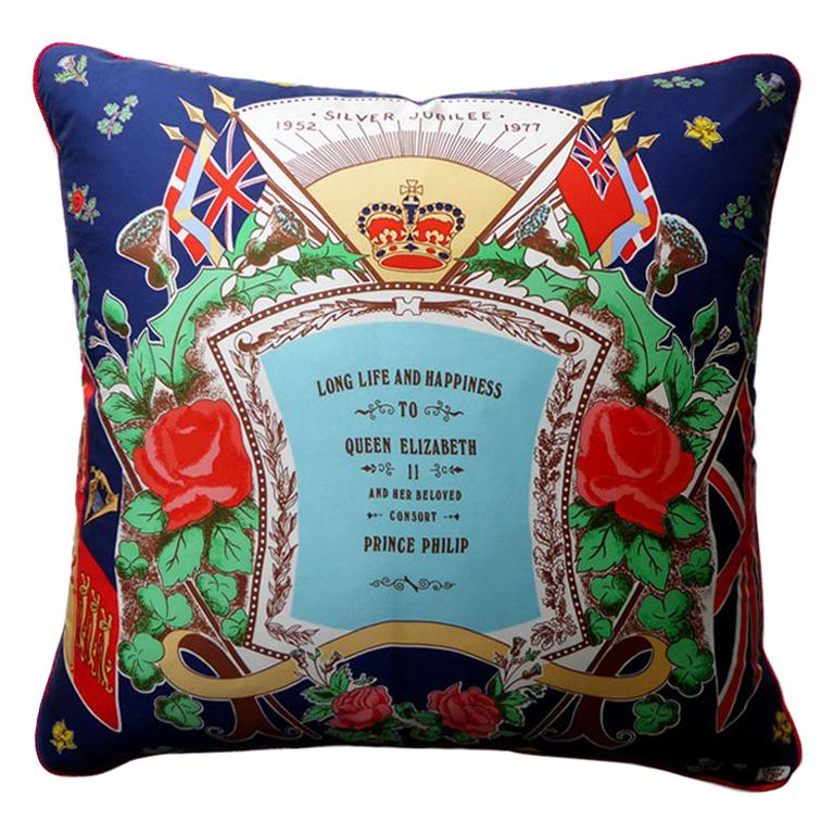Vintage Cushions 'Silver Jubilee 1977' Front Pillow Side by Liberty of London For Sale