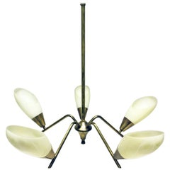 1950s Italian Five Branch Brass and Glass Ceiling Light Midcentury Chandelier